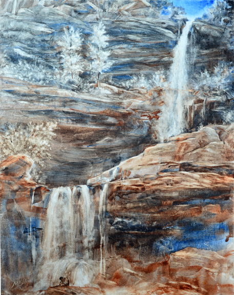 """Brahm at Kaaterskill Falls"" - (plein air) watercolor on on Fredrix canvas paintboard, 20""x16"""